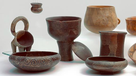 A suite of Middle Neolithic pottery including typical Danilo ware, figulina and rhyta that was used to hold meat, milk, cheese and yogurt.
