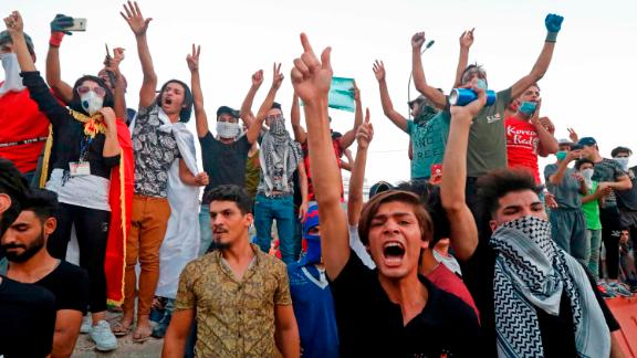 Iraqi protesters demonstrate against the government Monday, September 4, over the lack of basic services in Basra.