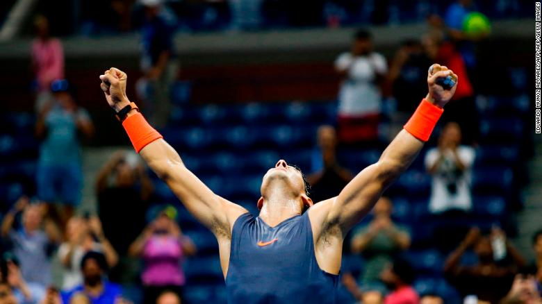 Spain's Rafael Nadal celebrates after defeating Austria's Dominic Thiem during their Men's Singles Quarter-Finals match at the 2018 US Open at the USTA Billie Jean King National Tennis Center in New York on September 5, 2018.