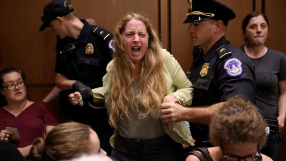 Protesters disrupt the confirmation hearing for Supreme Court nominee Judge Brett Kavanaugh before the Senate Judiciary Committee in the Hart Senate Office Building on Capitol Hill September 4, 2018.