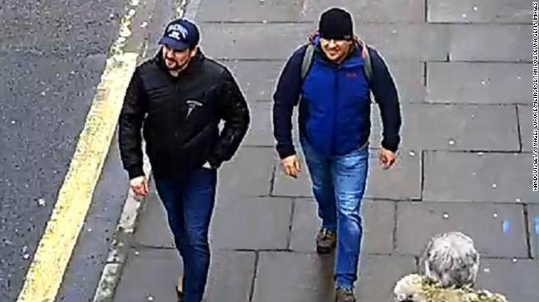 Salisbury Novichok poisoning suspects Alexander Petrov and Ruslan Boshirov are shown on CCTV in Salisbury, according to the Metropolitan Police.
