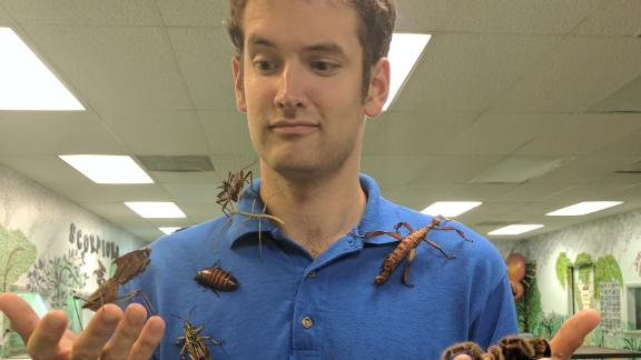 Owner John Cambridge with some of the Insectarium's live specimens.