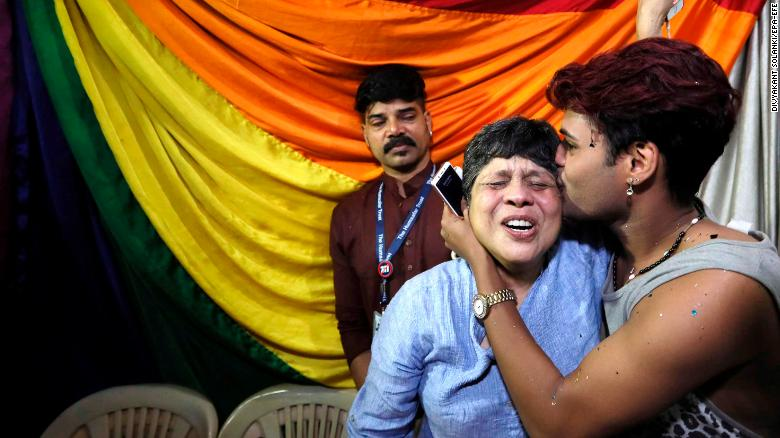 Indian LGBT activists in Mumbai react to the news that the Supreme Court has struck down Section 377.