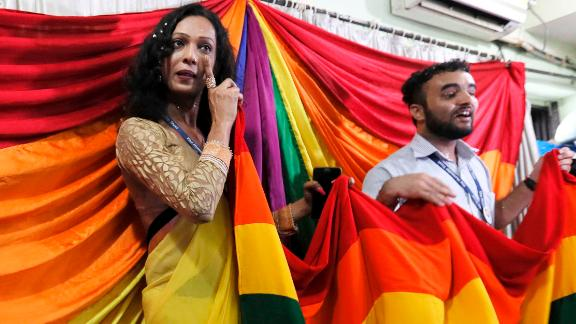 Supporters in Mumbai react to the Supreme Court ruling that gay sex is no longer a criminal offense.