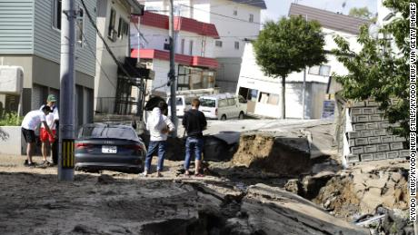 Photo taken Sept. 6, 2018, shows a heavily damaged road in Sapporo, Hokkaido, northern Japan, hit by an earthquake with preliminary magnitude of 6.7.