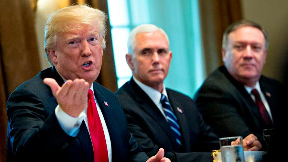 President Donald Trump speaks as Vice President Mike Pence, center, and Mike Pompeo, U.S. secretary of state, listen during a meeting with Jens Stoltenberg, secretary general of the North Atlantic Treaty Organization (NATO), not pictured, in the Cabinet Room of the White House  May 17, 2018 in Washington, DC. (Andrew Harrer-Pool/Getty Images)