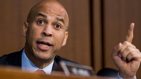 UNITED STATES - SEPTEMBER 6: Sen. Cory Booker, D-N.J., threatens to release committee confidential documents during the start of day three of Brett Kavanaugh's confirmation hearing to be Associate Justice of the Supreme Court in the Senate Judiciary Committee on Thursday morning, Sept. 6, 2018. (Photo By Bill Clark/CQ Roll Call) (CQ Roll Call via AP Images)