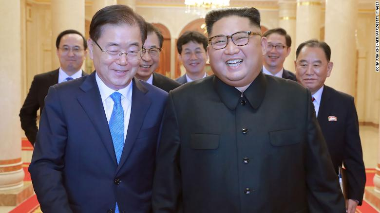 This picture from North Korea's official Korean Central News Agency (KCNA) taken on September 5, 2018 shows North Korean leader Kim Jong Un (R) meeting with South Korean president's special envoy Chung Eui-yong (L) in Pyongyang.