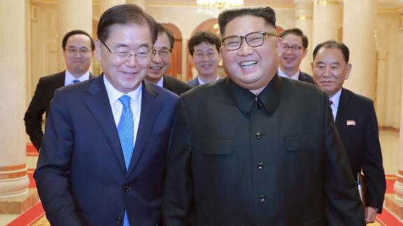 """This picture from North Korea's official Korean Central News Agency (KCNA) taken on September 5, 2018 and released on September 6, 2018 shows North Korean leader Kim Jong Un (R) meeting with South Korean president's special envoy Chung Eui-yong (L) in Pyongyang. - Kim Jong Un will meet the South's President Moon Jae-in at a summit in Pyongyang in September to discuss the nuclear disarmament, Seoul said on September 6. (Photo by KCNA VIA KNS / KCNA VIA KNS / AFP) / South Korea OUT / REPUBLIC OF KOREA OUT   ---EDITORS NOTE--- RESTRICTED TO EDITORIAL USE - MANDATORY CREDIT """"AFP PHOTO/KCNA VIA KNS"""" - NO MARKETING NO ADVERTISING CAMPAIGNS - DISTRIBUTED AS A SERVICE TO CLIENTS THIS PICTURE WAS MADE AVAILABLE BY A THIRD PARTY. AFP CAN NOT INDEPENDENTLY VERIFY THE AUTHENTICITY, LOCATION, DATE AND CONTENT OF THIS IMAGE. THIS PHOTO IS DISTRIBUTED EXACTLY AS RECEIVED BY AFP. /         (Photo credit should read KCNA VIA KNS/AFP/Getty Images)"""