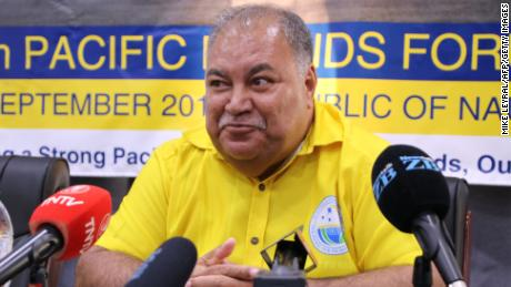 Nauru's President Baron Waqa attends a press conference after the Small Island States meeting in Aiwo on September 3.