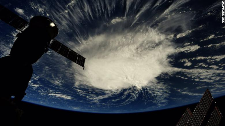 An image taken from the International Space Station shows Hurricane Florence in the early morning hours over the Atlantic.