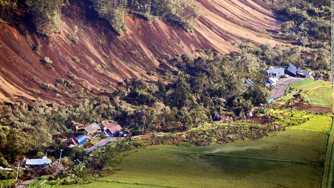 japan earthquake homes on hokkaido buried by landslide after