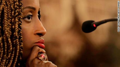 Psychotherapist and anti-FGM activist Leyla Hussein attends a press conference in May 2017 in Oslo, Norway.