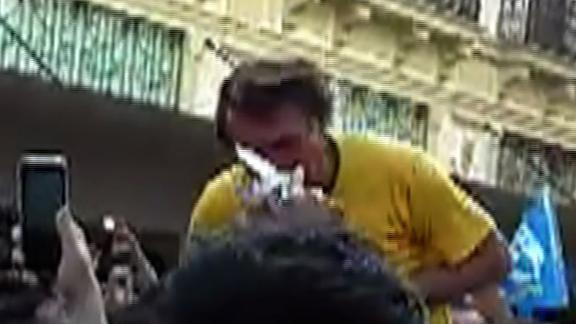 A screen grab shows the moment just before Bolsonaro was stabbed Thursday.