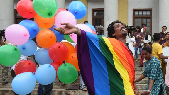 LGBT activists celebrate after the verdict by Supreme Court of India which stuck down on the British-era section 377 of the penal code that penalized people for their sexual orientation and ordered that gay sex among consenting adults is not an offence.