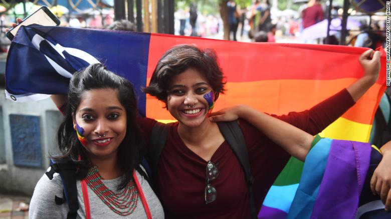 Women celebrate in Kolkata. Activists said the next stage of the fight will be for full legal protections and equality for LGBT people.