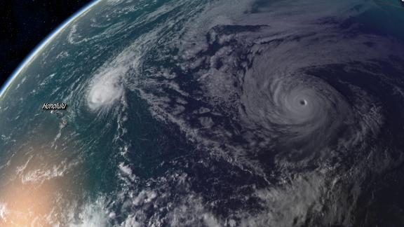 Hurricane Olivia is seen Friday via satellite in the Pacific moving toward Hawaii.
