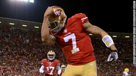 'Kaepernicking' refers to the act of the quarterback kissing the tattoos on his bicep to celebrate a touchdown