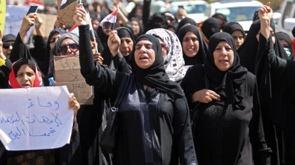 Iraqi women demonstrate against the government and the lack of basic services on Friday in Basra.