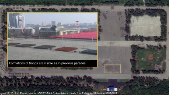 A satellite image provided by Planet Labs and analyzed by the James Martin Center for Nonproliferation Studies that appears to show practice sessions for the upcoming parade.