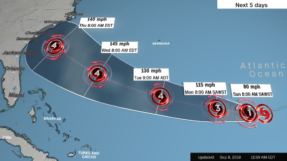 A forecast cone, created midday Saturday, shows the probable range of Florence's center for five days.