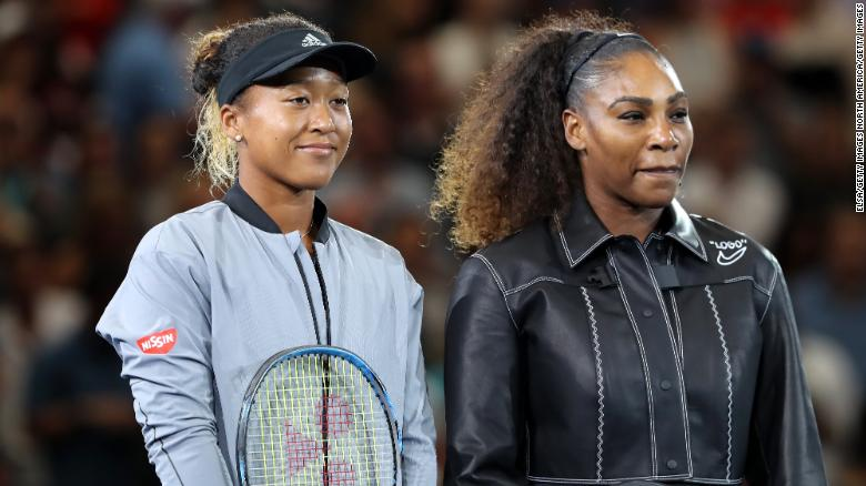 Serena Williams (right) and Naomi Osaka line up before the women's final. It couldn't foreshadow the drama that was to come.