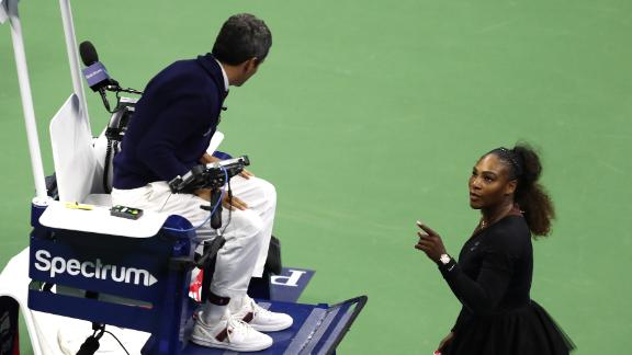 Serena Williams of the United States reacts to umpire Carlos Ramos after her defeat in the Women