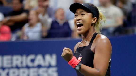 Naomi Osaka, of Japan, reacts after breaking the serve of Serena Williams during the women's final of the U.S. Open tennis tournament, Saturday, September 8, 2018, in New York.