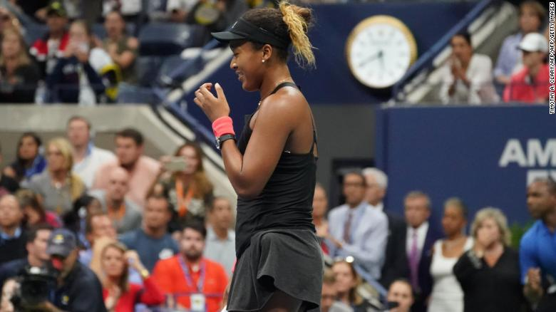 Naomi Osaka reacts after winning the US Open, beating Serena Williams.