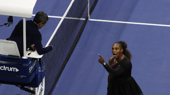 Serena Williams and umpire Carlos Ramos clash during the final.