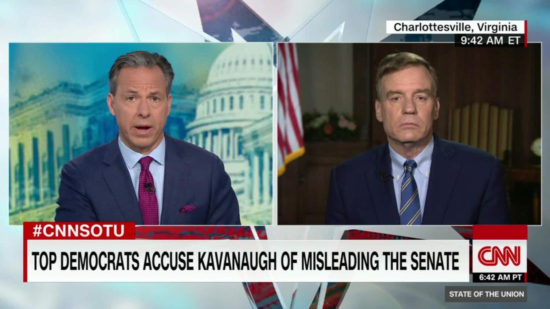 Warner 'Strongly inclined' to vote against Kavanaugh