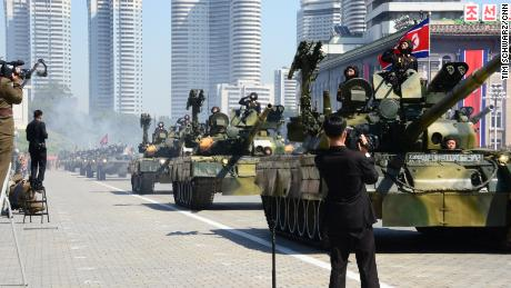 Military vehicles are seen during a parade marking North Korea's 70th anniversary Sunday.