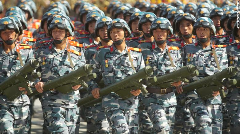Soldiers march during a military parade in North Korea.