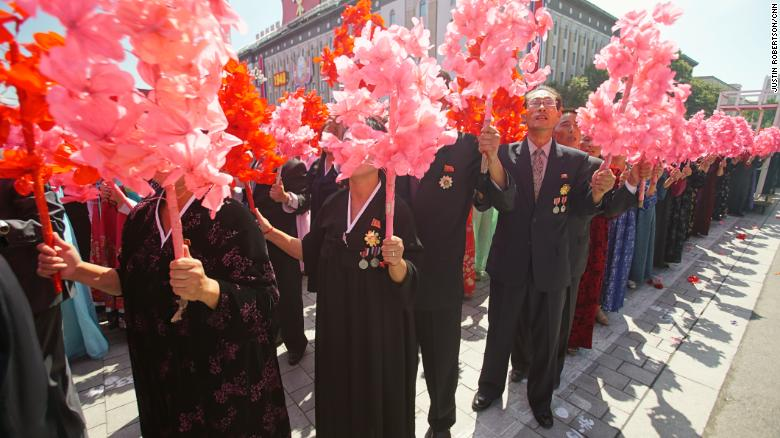 North Koreans celebrate the country's 70th anniversary.