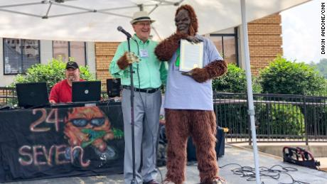 Mayor Steve Little presented Bigfoot with a declaration naming him Marion's official animal for the day.