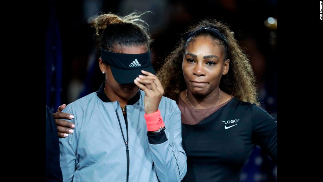 Naomi Osaka, left, of Japan, is hugged by Serena Williams after Osaka defeated Williams in the women's final of the US Open tennis tournament on Saturday, September 8, in New York.