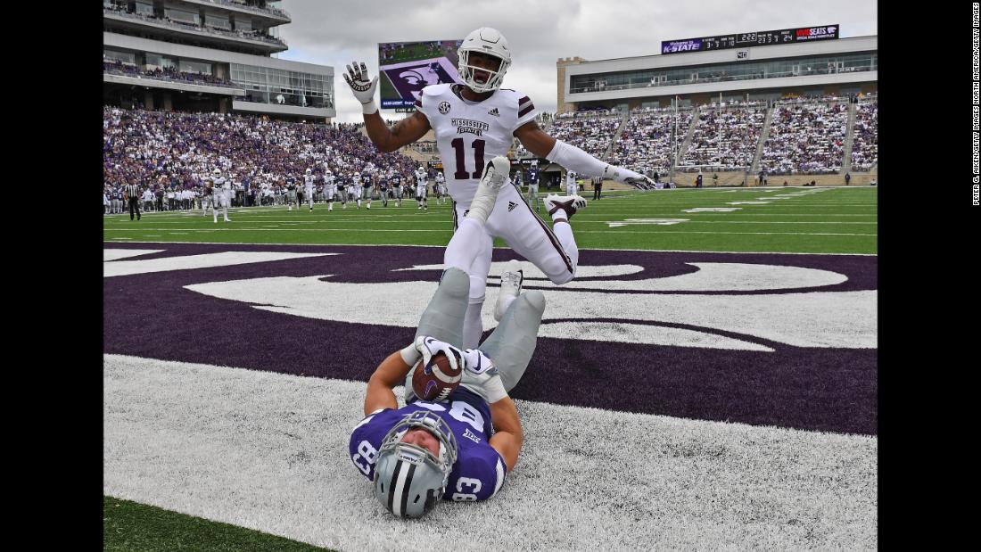 Wide receiver Dalton Schoen of the Kansas State Wildcats catches a touchdown pass against safety Jaquarius Landrews of the Mississippi State Bulldogs during the second half of play on Saturday, September 8, at Bill Snyder Family Stadium in Manhattan, Kansas.