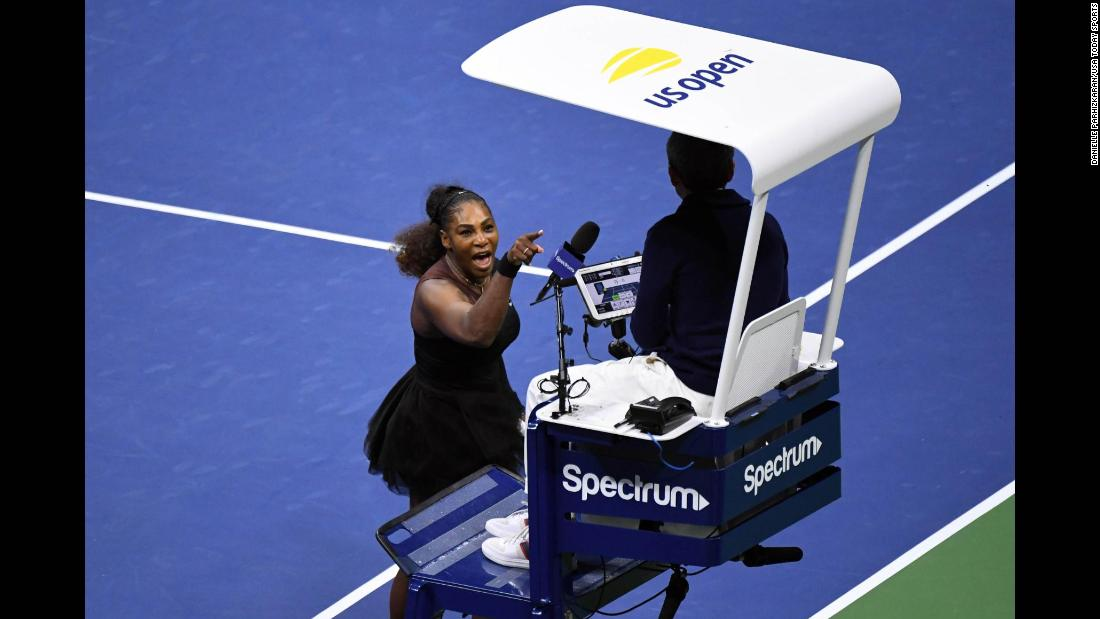 Serena Williams yells at chair umpire Carlos Ramos in the women's final against Naomi Osaka during the 2018 US Open tennis tournament on Saturday, September 8.