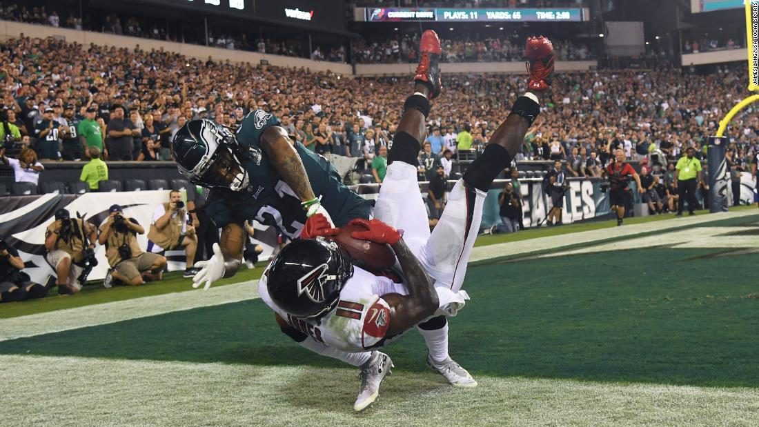 Philadelphia Eagles cornerback Ronald Darby pushes Atlanta Falcons wide receiver Julio Jones out of bounds on the final pay of the game at Lincoln Financial Field in Philadelphia on Thursday, September 6.