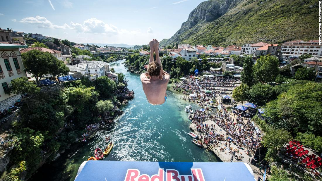 Gary Hunt dives from the 27 meter platform on Stari Most Bridge during the final competition day of the sixth stop at the Red Bull Cliff Diving World Series on September 8 in Mostar, Bosnia and Herzegovina.