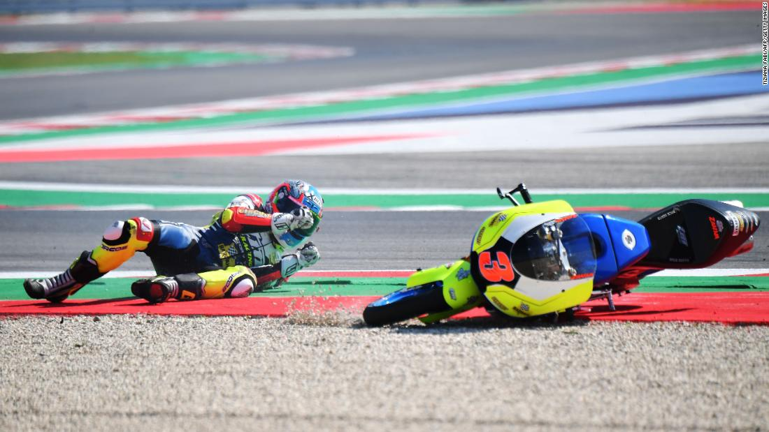 Rider Kevin Zannoni falls during the Moto3 race of the San Marino Grand Prix at the Marco Simoncelli Circuit in Misano, Italy, on Sunday, September 9.
