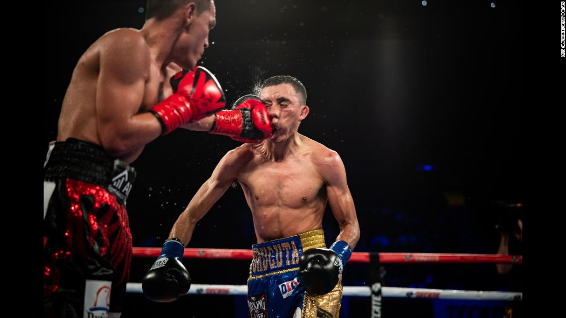 WBC super flyweight boxer Felipe Orucuta of Nicolas Romero, Mexico, fights Juan Francisco Estrada of Sonora, Mexico, at The Forum on Saturday, September 8, in Inglewood, California.