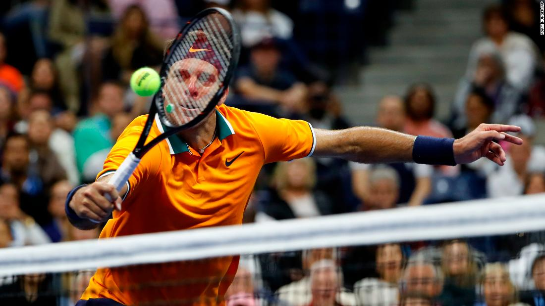 Juan Martin del Potro returns a shot to Novak Djokovic during the men's final of the US Open tennis tournament on Sunday, September 9, in New York.