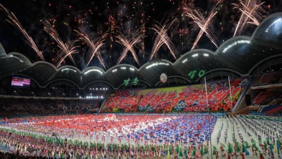 Participants perform in the Mass Games at the May Day stadium in Pyongyang, Sunday night.