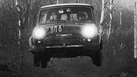 The first of the flying Finns, Timo Mäkinen, drives an Austin Morris Mini during a rally in the 1960s.