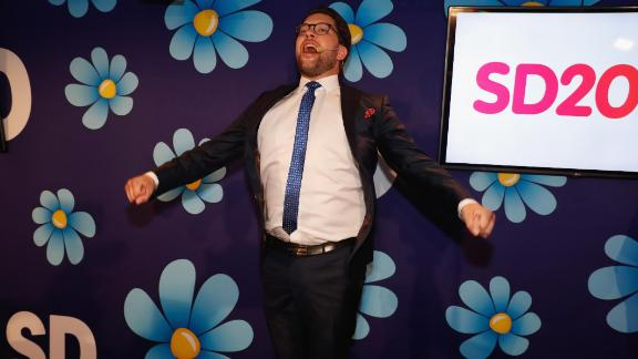 Leader of the far-right Sweden Democrats Jimmie Åkesson speaks at the party election center on Sunday.