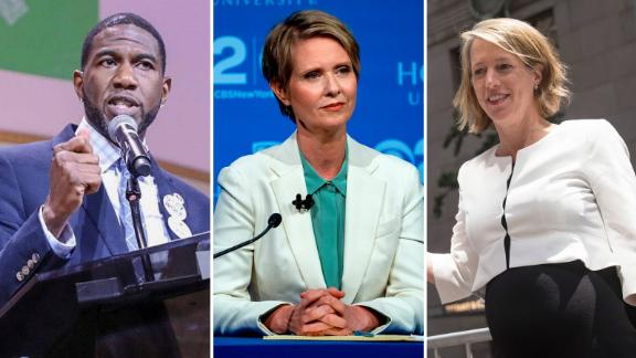 New York Democratic lieutenant governor candidate Jurmaane Williams, NY Democratic gubernatorial candidate Cynthia Nixon and New York Democratic attorney general candidate Zephyr Teachout