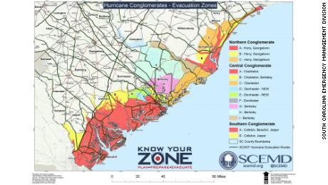 Mandatory evacuations start in coastal South Carolina Tuesday at noon.