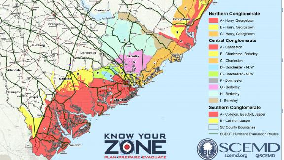 South Carolina Gov. Henry McMaster ordered the mandatory evacuation of the state's entire 187-mile coastline beginning at 12:00 p.m. Tuesday. The mandatory evacuation order extends to eight counties along South Carolina's coast: Jasper, Beaufort, Charleston, Colleton, Dorchester, Berkeley, Georgetown, and Ory Counties.
