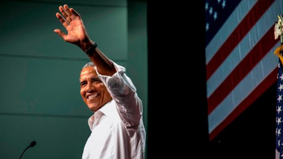 ANAHEIM, CA - SEPTEMBER 08: Former U.S. President Barack Obama waves to the crowd during a Democratic Congressional Campaign Committee rally at the Anaheim Convention Center on September 8, 2018 in Anaheim, California. This is Obama